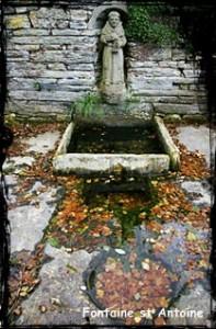 Porc protégé. dans Fontaine mur- ploudiry-st-antoine-197x300